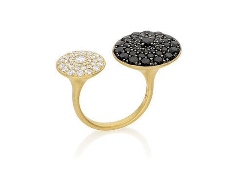 22K Yellow Gold and Rose Cut Black Diamond Ring