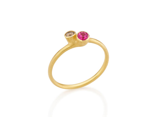 18K Yellow Gold, Ruby and Diamond Ring