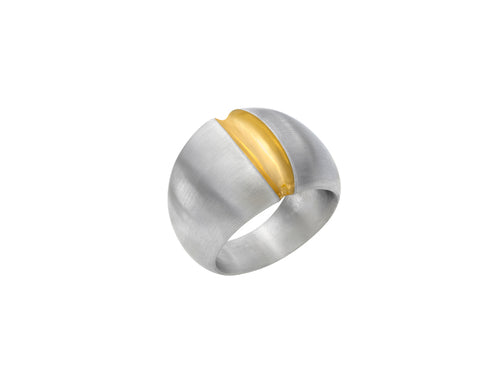 "Sterling Silver and 24K Yellow Gold ""Luster"" Ring"