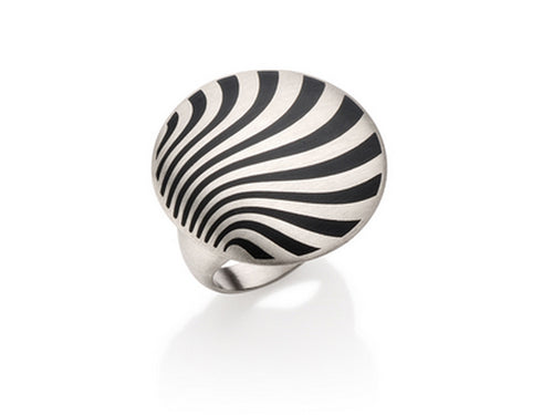 "Sterling Silver and Enamel ""Wind"" Ring"