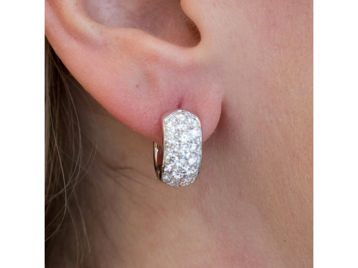 14K White Gold and Pave Diamond Huggie Earrings