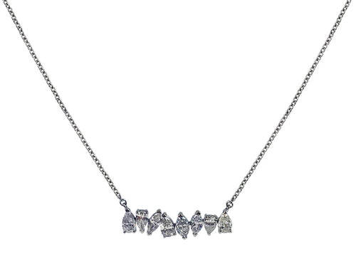 18K White Gold and Pear Diamond Necklace