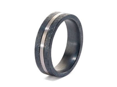 Oxidized Silver and Palladium Men's Wedding Band