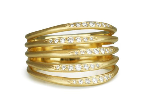 "Anne Sportun 18K Yellow Gold and Diamond Pavé ""Flow"" Ring"