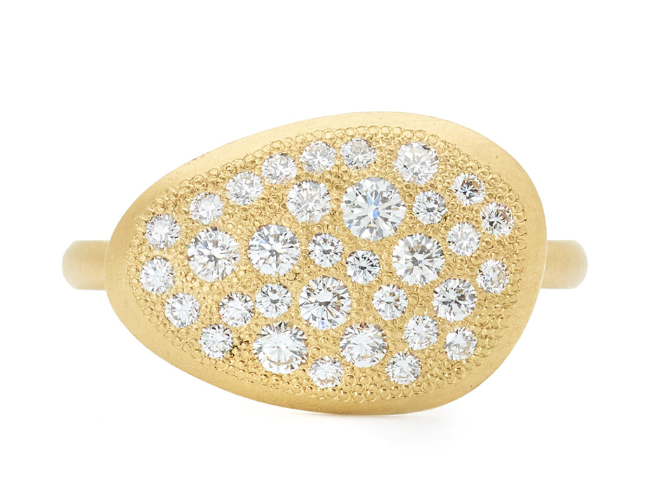 "18K Yellow Gold and Pavé Diamond ""Petal"" Ring"