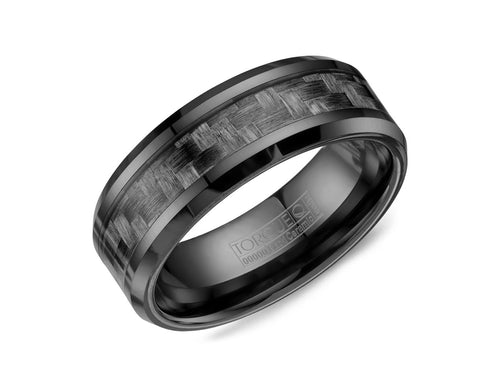 Black Ceramic and Carbon Fiber Men's Wedding Band