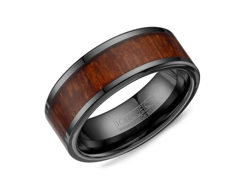 18K Grey Gold and Wood Inlay Men's Wedding Band
