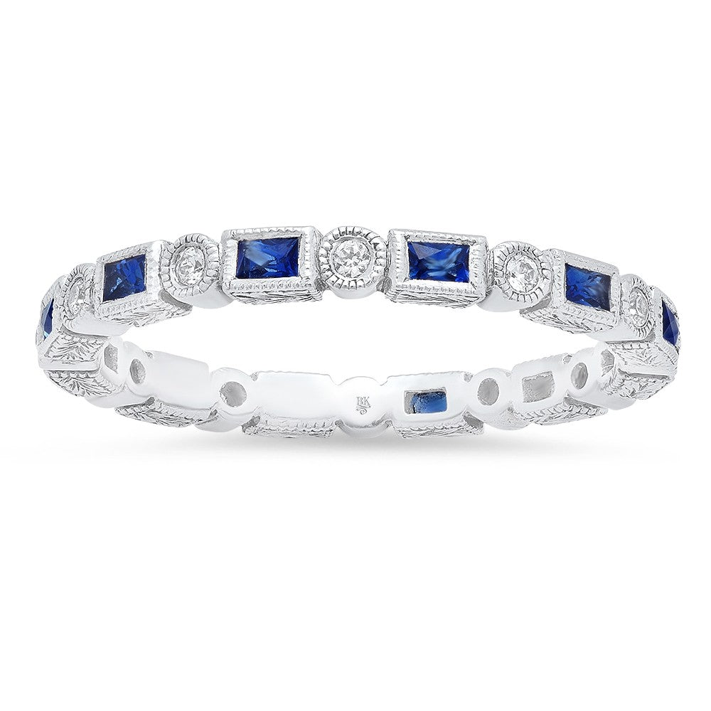 18K White Gold, Sapphire and Diamond Wedding Band