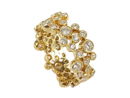 "18K Yellow Gold and Diamond ""Bubble"" Ring"