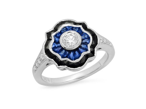 18K White Gold, Diamond, Onyx and Sapphire Ring