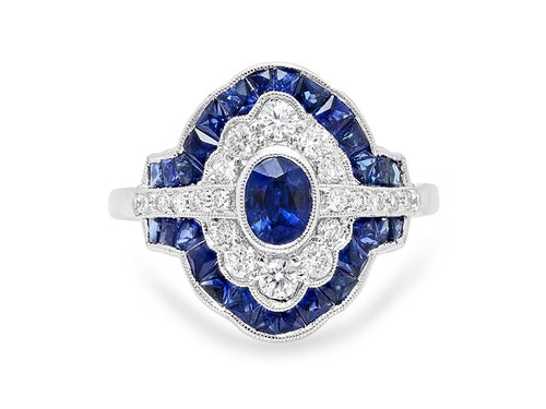 18K White Gold, Diamond and Sapphire Ring