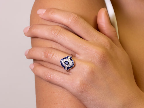 "Sapphire and Diamond ""Baroness"" Ring"