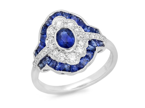 Tourmaline, Tanzanite and Diamond Wrap Ring