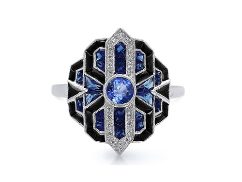 18K White Gold, Onyx and Sapphire Ring