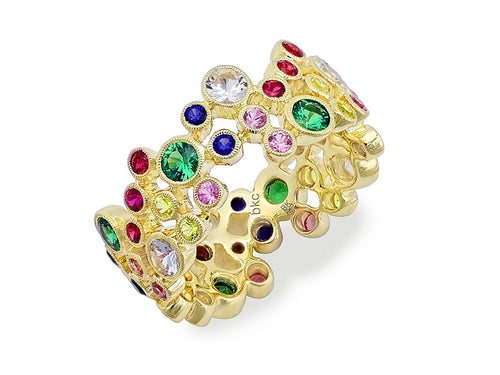 "Rainbow-hued Gemstone ""Bubble"" Wedding Band"