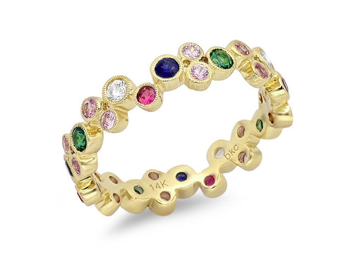 "18K Yellow Gold, Tsavorite, Ruby and Sapphire ""Bubble"" Ring"