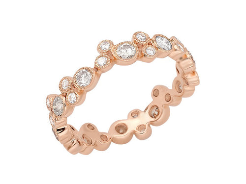 "18K Rose Gold and Diamond ""Bubble"" Ring"
