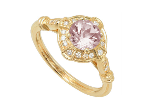14K Yellow Gold, Morganite and Diamond Ring