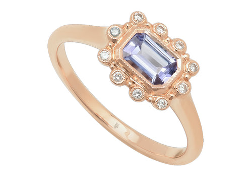 14K Rose Gold, Tanzanite and Diamond Ring