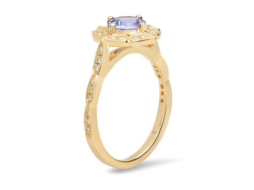 14K Yellow Gold, Tanzanite and Diamond Ring