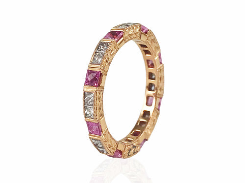 18K Rose Gold, Diamond and Pink Sapphire Wedding Band