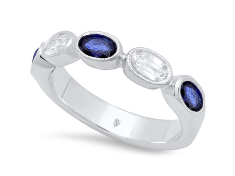 14K White Gold, Diamond and Blue Sapphire Wedding Band