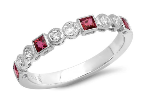 18K White Gold, Diamond and Ruby Wedding Band