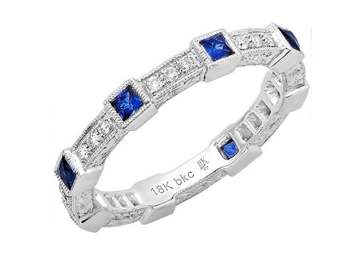 18K White Gold, Diamond and Sapphire Wedding Band