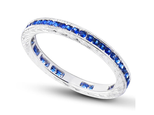 14K White Gold and Blue Sapphire Wedding Band