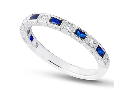 14K White Gold, Diamond and Blue Sapphire Wedding Ring
