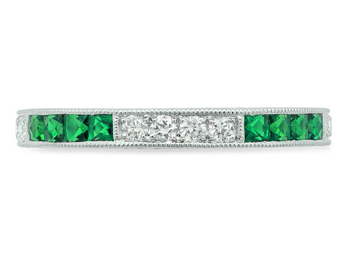 14K White Gold, Diamond and Emerald Wedding Band