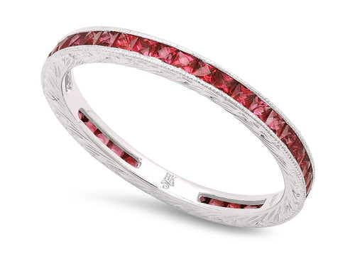 18K White Gold and Ruby Wedding Band