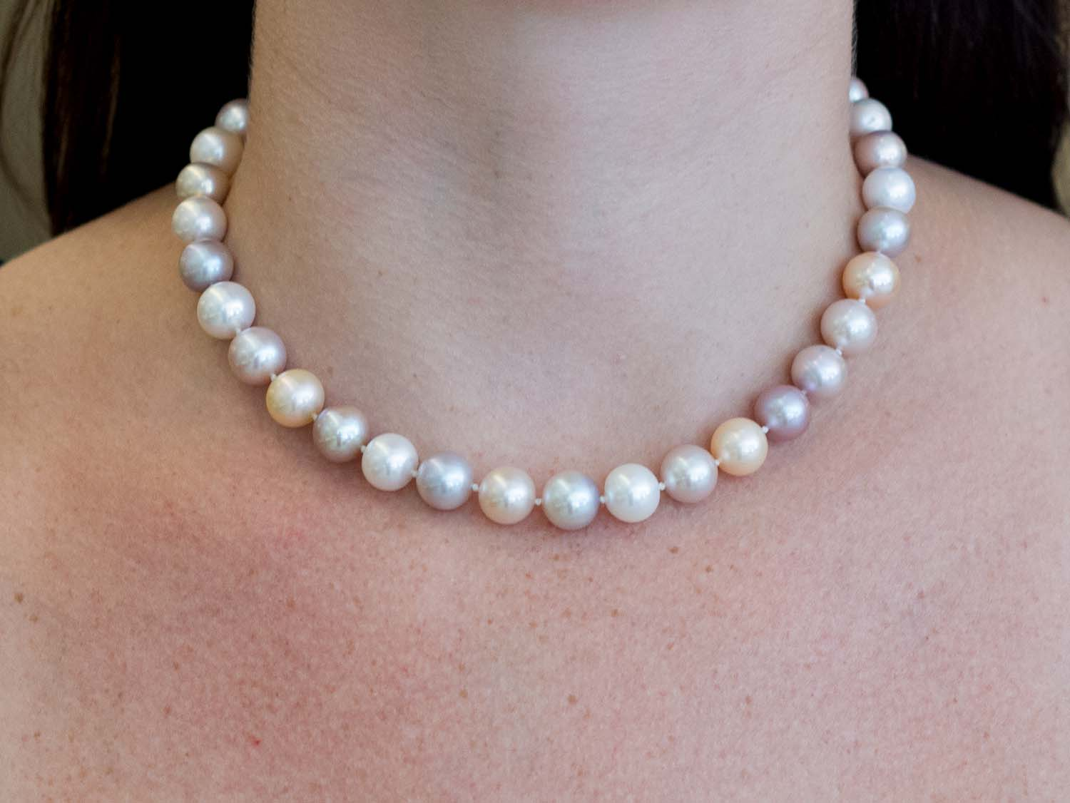 18K White Gold, Diamond and Pearl Necklace