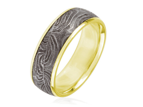 Damascus Steel and 18K Yellow Gold Men's Wedding Band
