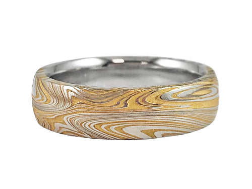 24K Yellow Gold Washed Damascus Steel Men's Wedding Band