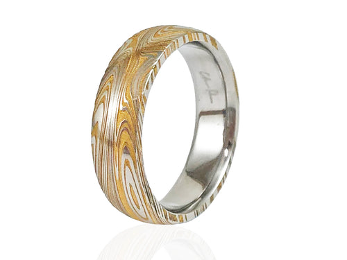 Washed Damascus Steel Men's Wedding Band