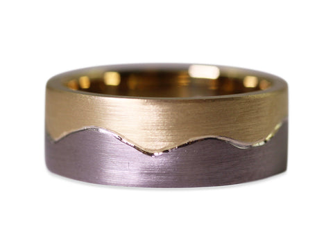 "18K Yellow Gold ""Tide"" Men's Wedding Band"