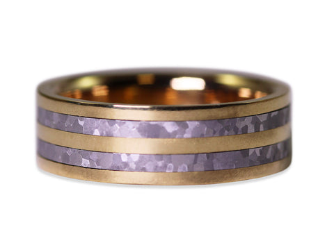 Hammered Gray Tantalum and White Gold Men's Wedding Band