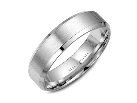14K White Gold and Black Carbon Men's Band