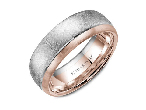 14K Rose Gold and Black Carbon Men's Band