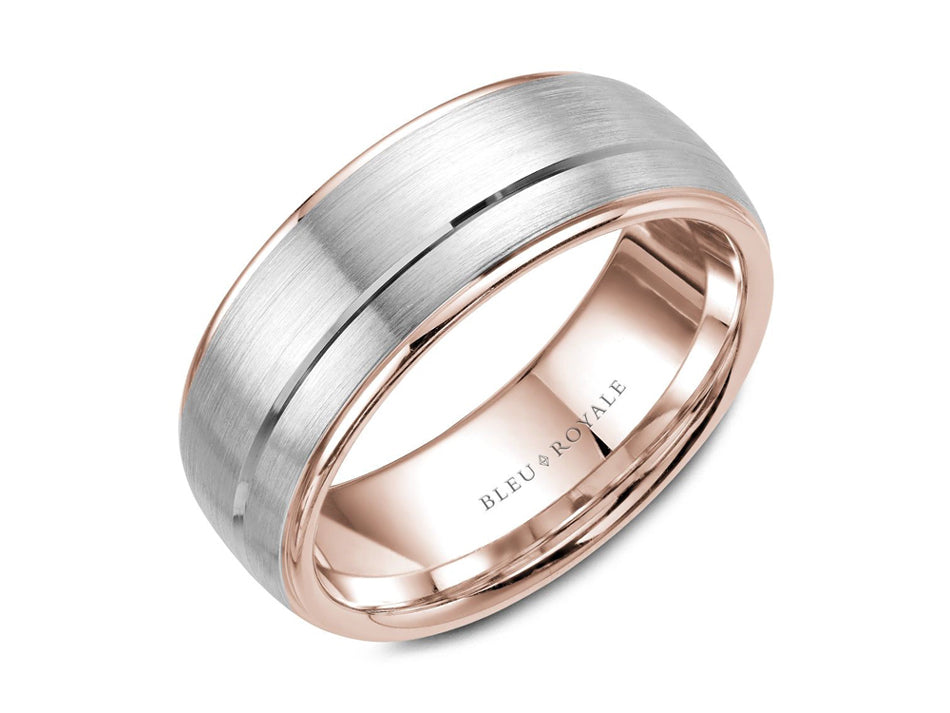 14K White and Rose Gold Men's Band at the Best Jewelry Store in Washington DC