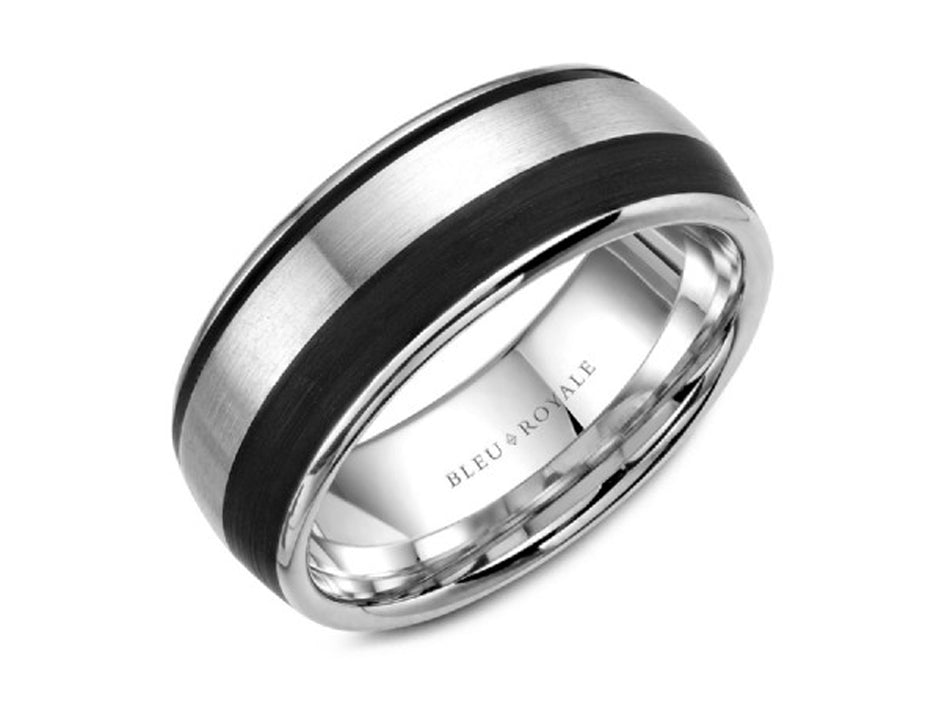 14K White Gold and Black Carbon Men's Band at the Best Jewelry Store in Washington DC