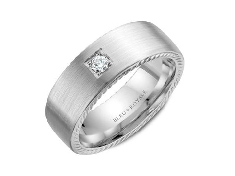 14K White Gold and Sapphire Men's Band