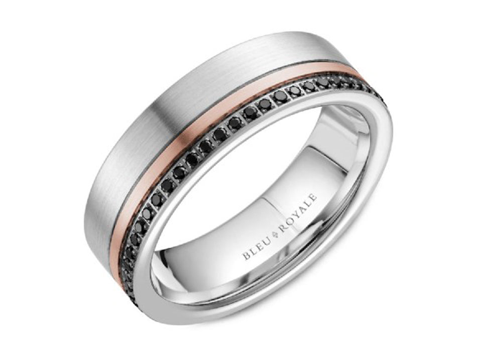 14K Rose, 14K White Gold and Black Diamond Men's Band in Washington DC