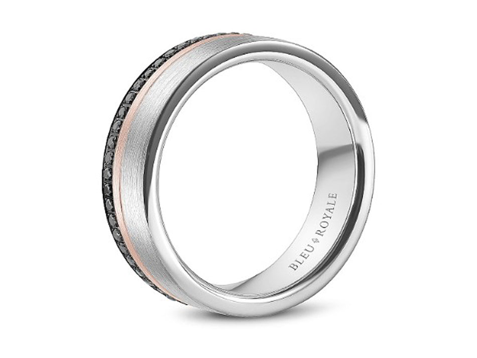 14K Rose, 14K White Gold and Black Diamond Men's Band