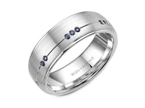 14K White Gold and Sapphire Men's Wedding Band at the Best Jewelry Store in Washington DC