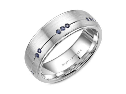 14K White Gold and Blue and White Sapphire Wedding Band