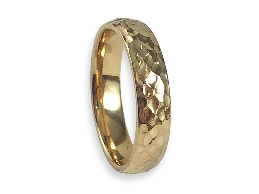 Hammered Gold Men's Wedding Band