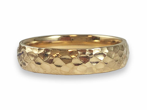 18K Yellow Gold and Pavé Diamond Slender Wedding Band