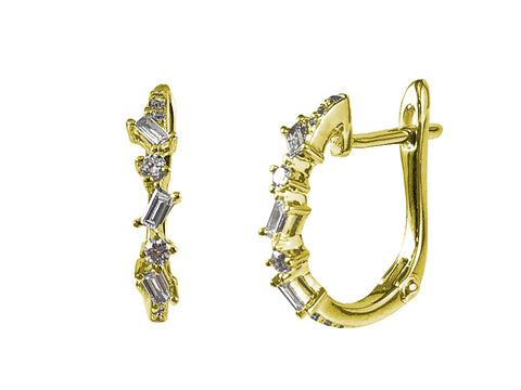 18K Yellow Gold and Diamond Hoop Earrings